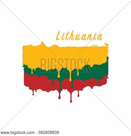 Painted Lithuania Flag, Lithuania Flag Paint Drips. Stock Vector Illustration Isolated On White Back