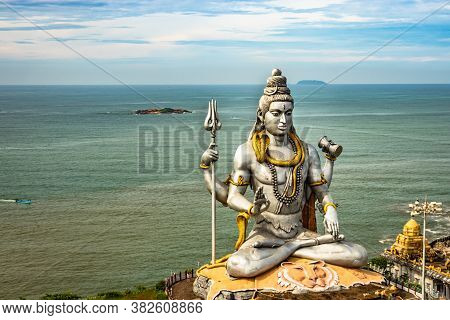 Shiva Statue Isolated At Murdeshwar Temple Aerial Shots With Arabian Sea In The Backdrop