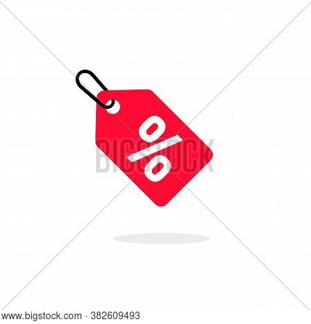 Discount Offer Sale Price Tag Icon. Flat Label Red, Clearance Symbol, Special Deal Clearance Sale Ta