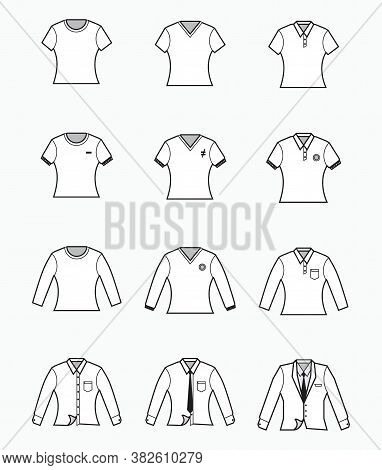 White T-shirt, Polo Shirt, Collared Formal Cloth, Tuxedo Icon - Slim Fit Or Woman Shirt - For Produc