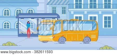 Cartoon Woman Stand At Public Transport Stop On Roadside. Yellow Bus Drive To Modern Glass Stop With