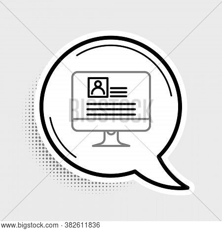Line Computer Monitor With Resume Icon Isolated On Grey Background. Cv Application. Searching Profes