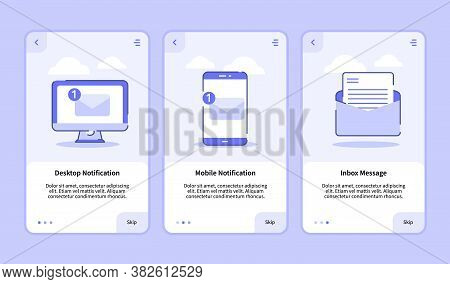 Desktop Notification Mobile Notification Inbox Message Onboarding Screen For Mobile Apps Template Ba
