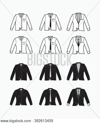 Black And White Collared Formal Clothes With Tie And Pocket. Long Sleeves Formal Clothes And Tuxedo