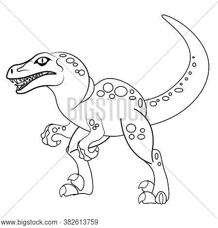 Vector Coloring Of Raptor Dinosaur. Illustration For Coloring For Adults And Children.