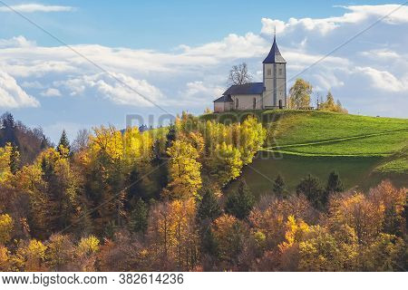 Landscape With Church On Top Of Hill In Slovenian Countryside, Slovenia