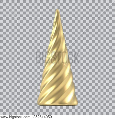 Realistic Gold Christmas Abstract Fir Tree In The Form Of A Spiral