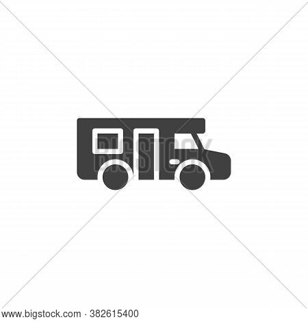 Camper Trailer Vector Icon. Filled Flat Sign For Mobile Concept And Web Design. Caravan Car, Trailer