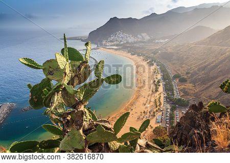 View Of Famous Beach And Ocean Lagoon Playa De Las Teresitas,tenerife, Canary Islands