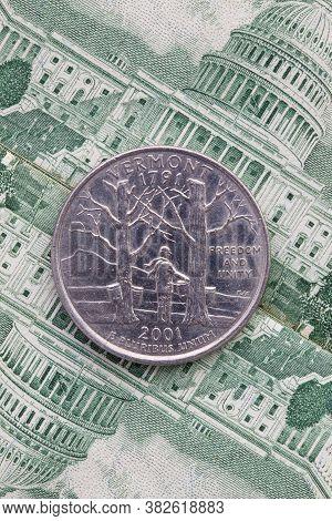 A Quarter Of Vermont On Us Dollar Bills. Symmetric Composition Of Us Dollar Bills And A Quarter Of V