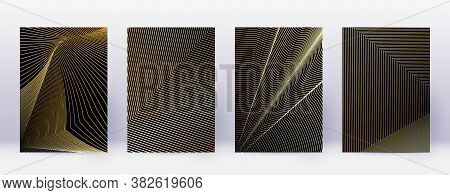 Art Business Card. Abstract Lines Modern Brochure Template. Gold Vibrant Gradients Geometry On Black