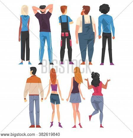 Back View Of Young People Set, Guys And Girls Viewed From Behind Wearing Casual Clothes And Looking
