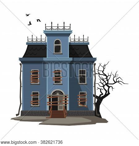 Abandoned Majestic Mansion With Creepy Tree And Birds Flying Around, Halloween Haunted House Vector