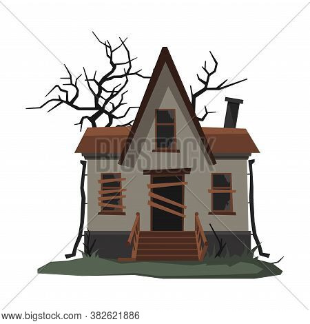 Scary Abandoned House With Boarded Up Windows, Halloween Haunted Small Cottage Vector Illustration O
