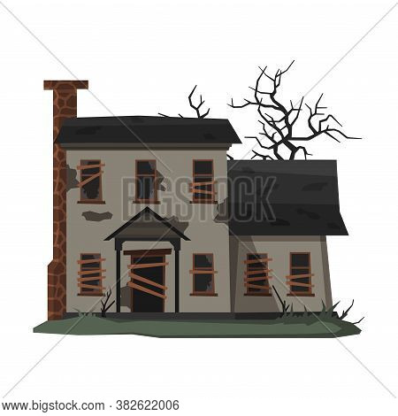 Scary Mansion, Abandoned Two Storey House Building With Boarded Up Windows And Creepy Trees Vector I
