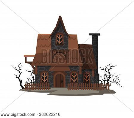 Scary Abandoned House, Halloween Haunted Small Cottage Vector Illustration On White Background