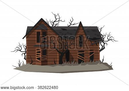 Scary Abandoned House, Halloween Haunted Mansion Vector Illustration On White Background