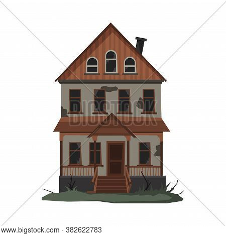 Scary Abandoned House, Halloween Haunted Two Storey Building With Broken Windows Vector Illustration