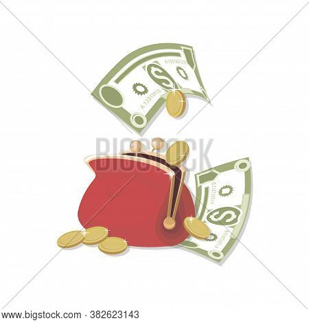 Red Wallet. Cash. Dollars Signs, Gold Coins. Falling Money Isolated On White Background. American Bi