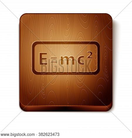 Brown Math System Of Equation Solution Icon Isolated On White Background. E Equals Mc Squared Equati
