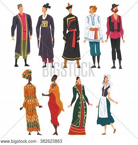 People In National Lothing Set, Male And Female Representatives Of Countries In Traditional Outfit O