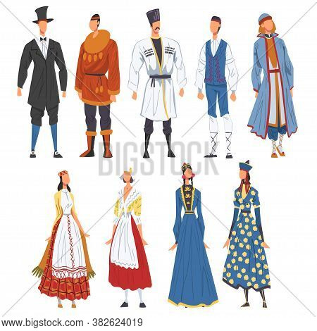 People In National Lothing Set, Representatives Of Countries In Traditional Outfit Of Nation Cartoon
