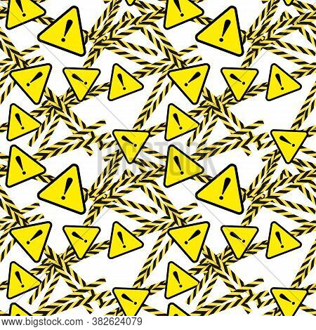 Vector Seamless Pattern, Danger, Threat Concept, Bright Yellow Color, Caution Ribbons And Triangle S