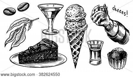 Liqueur Dessert. Hand With A Glass Shot. Cheers Toast. Ice Cream And Cake, Glass With Alcoholic Drin