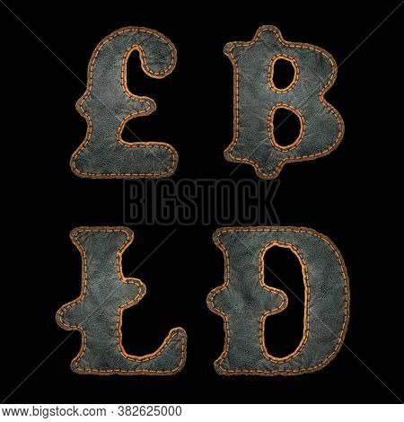 Set of symbols lira, baht, litecoin, dashcoin made of leather. 3D render font with skin texture isolated on black background. 3d rendering