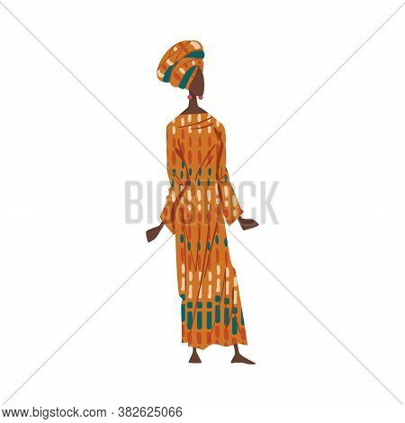 Woman In African National Lothing, Female Representative Of Country In Traditional Outfit Of Nation