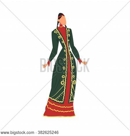 Woman In Bashkiria National Lothing, Female Representative Of Country In Traditional Outfit Of Natio