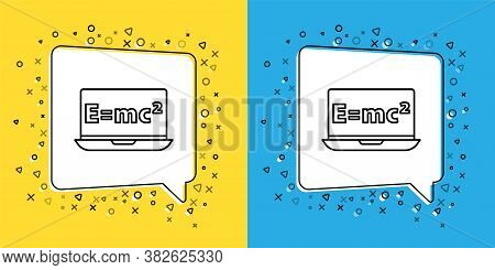 Set Line Math System Of Equation Solution On Laptop Icon Isolated On Yellow And Blue Background. E E
