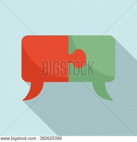Mission Puzzle Chat Icon. Flat Illustration Of Mission Puzzle Chat Vector Icon For Web Design