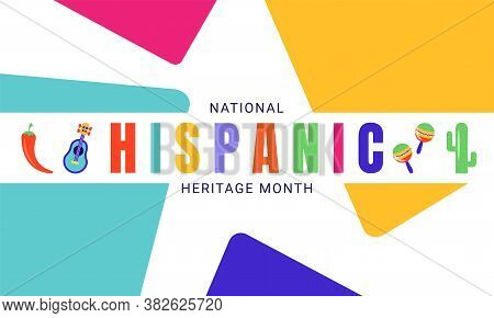 National Hispanic Heritage Month Horizontal Banner Template Decorated With The Attributes Of Latin A
