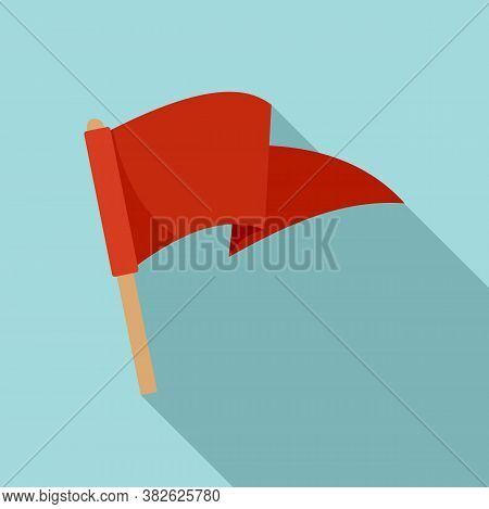 Red Flag Mission Icon. Flat Illustration Of Red Flag Mission Vector Icon For Web Design