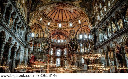 Istanbul, Turkey - October 2017: Hagia Sophia Museum Interior. Hagia Sophia Was Converted To Mosque