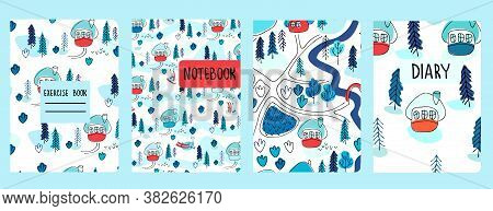 Set Of Cover Page Vector Templates Based On Seamless Patterns With Winter Landscapes, Cottages, Fir