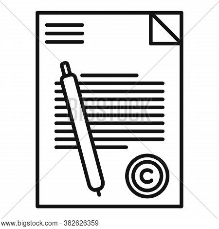 Mission Document Icon. Outline Mission Document Vector Icon For Web Design Isolated On White Backgro