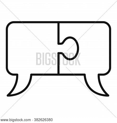 Mission Puzzle Chat Icon. Outline Mission Puzzle Chat Vector Icon For Web Design Isolated On White B