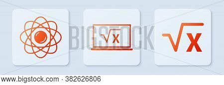 Set Square Root Of X Glyph, Atom And Square Root Of X Glyph. White Square Button. Vector
