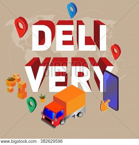 Online Concept Delivery Service, Online Order Tracking, Home And Office Delivery. City Logistics. Tr