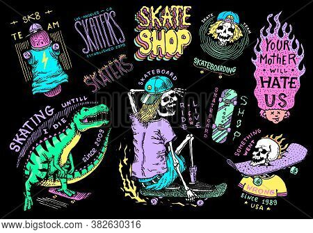 Skateboard Shop Stickers Set. Dinosaur And Skeletons Ride On The Boards Badges. Fiery Head And Skull