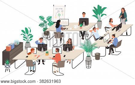 Group Of Office Workers At Working Place And Communicating To Each Other. Flat Cartoon Style Vector
