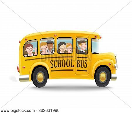 Cartoon School Bus With Children. Back To School Concept. Vector Illustration.