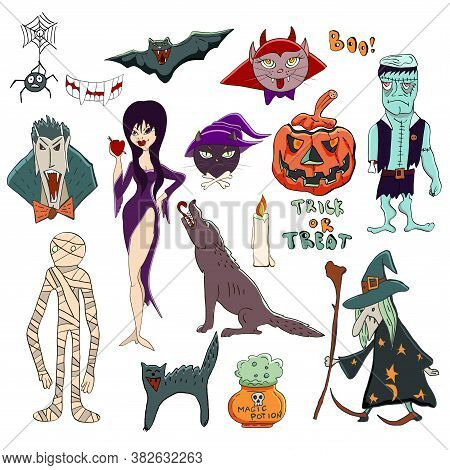 Vector Halloween Set. Halloween Characters Such As Vampire Dracula, Old Witch, Pumpkin Jack O Lanter