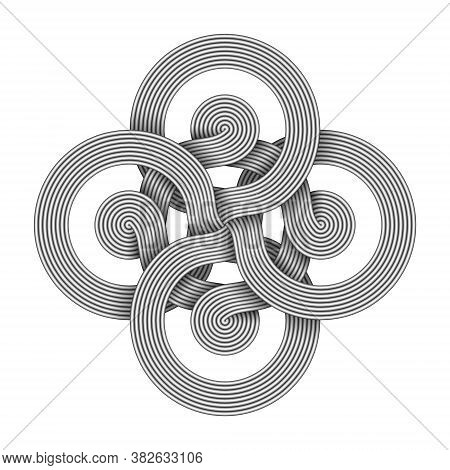 Cross Sign Made Of Ftwo Interwoven Bundles Of Metal Wires. Modern Stylization Of Bowen Knot Symbol.