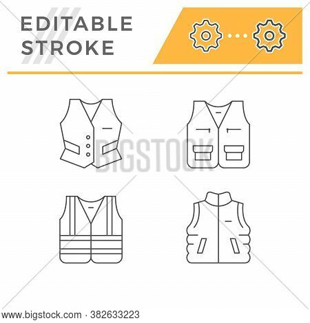 Set Line Icons Of Vest Isolated On White. Personal Protective Equipment, Reflective Jacket, Outdoor