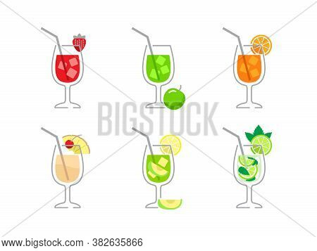 Cold Drinks With Colorful Splashes - Vector Illustration For Bar And Restaurant Menu