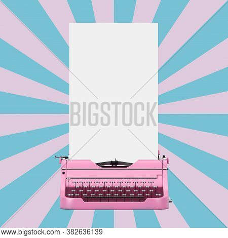 Old Vintage Retro Pink Typewriter With Long White Blank Paper Ready For Your Design On A Vintage Sta