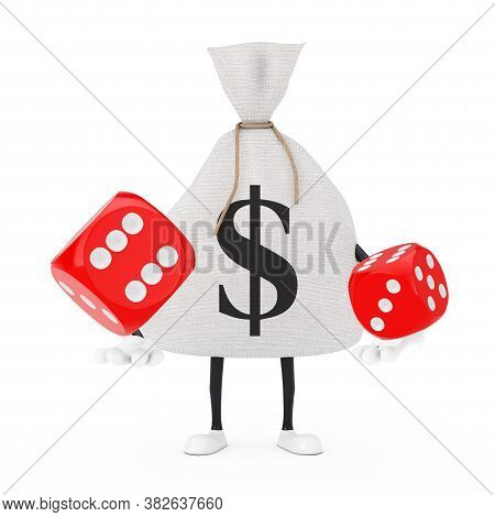 Tied Rustic Canvas Linen Money Sack Or Money Bag And Dollar Sign Character Mascot With Red Game Dice